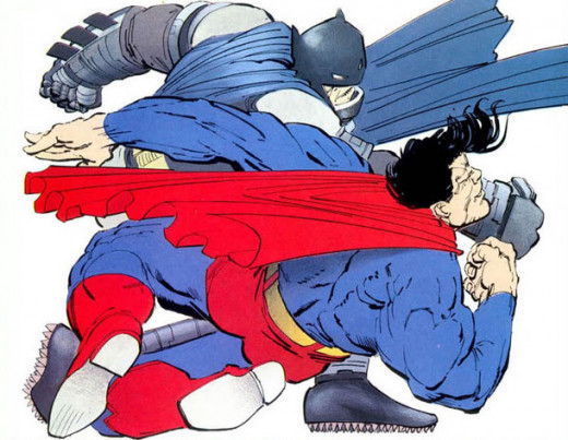 The Dark Knight Returns - Batman in his exoframe dealing a blow to Superman