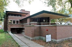 Frank Lloyd Wright's Robie House on the campus of the University of Chicago in Chicago, Illinois.