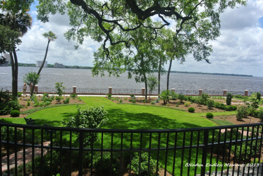 The back drop of the St. Johns River adds to the serenity of the gardens.