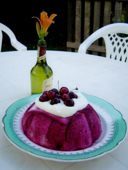 I topped this summer pudding, filled with cherries, red currants and black currants with creme fraiche and cherries.