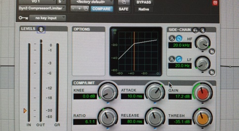 Above is the interface of a Dyn3 Compressor/Limiter which is a common type of compressor plugin found within Pro Tools.