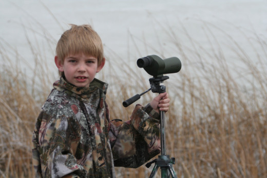 My son Michael at the Snow Goose Festival, one of his first photo safaris.