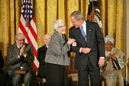 Harper Lee and President George W. Bush at the November 5, 2007, ceremony awarding Lee the Presidential Medal of Freedom for To Kill a Mockingbird