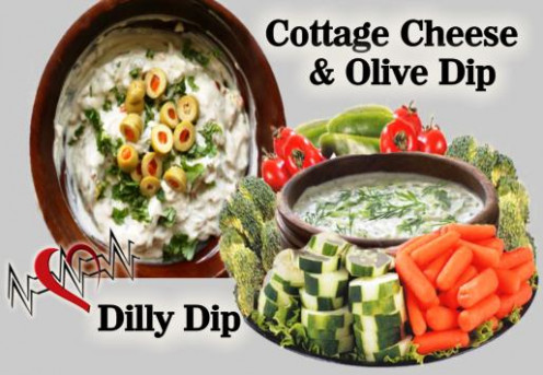 """Cottage Cheese & Olive Dip"" and ""Dilly Dip""  Healthy, easy, and very delicious!"