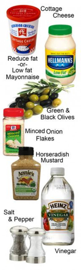 Ingredients for delicious Cottage Cheese & Olive Dip