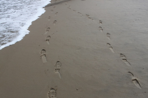 Footsteps on Nags Head Beach On The North Carolina Outerbanks. Have you ever put your footsteps on the beach here.
