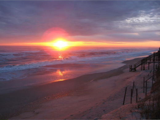 Sunset On Nags Head Beach On The North Carolina Outer Banks