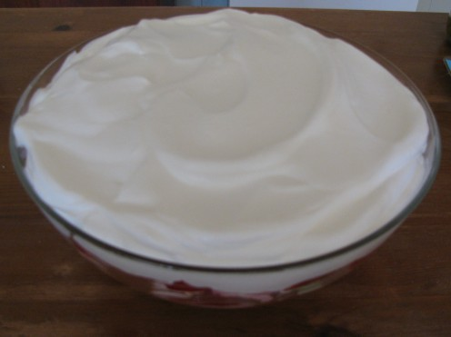 Topped with a thick layer of whipped Double Cream!