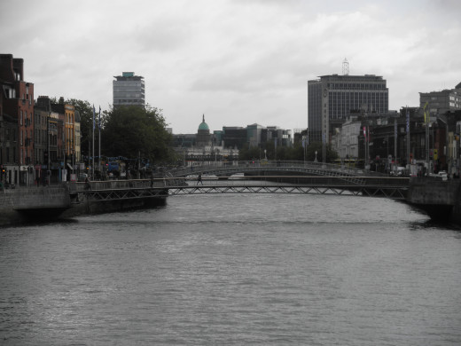 View of Dublin. The more arched bridge in the background is the Liffey Bridge, better known as the Ha'penny Bridge.