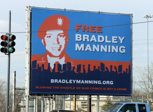 Billboard in Washington DC. In 2012, Manning also received  support from crowds protecting for him in Germany.