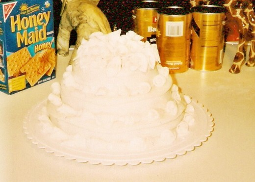 This no kidding is my wedding cake.  We had a low budget and I made our wedding cake.  I think it turned out pretty.