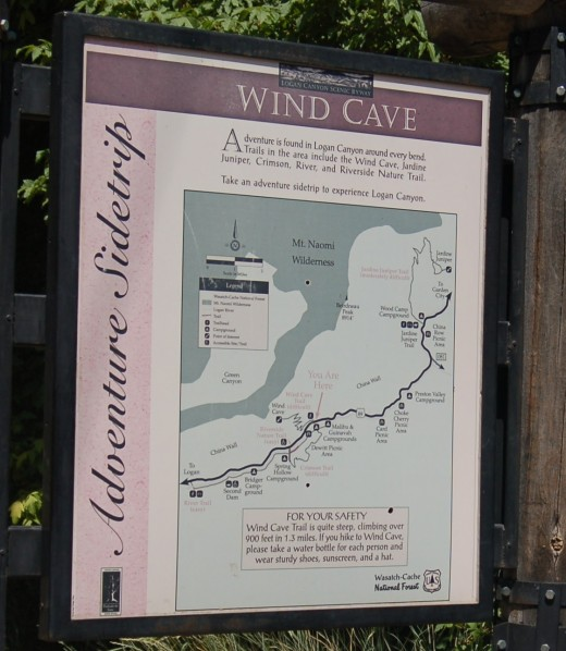 Map of Wind Cave trail located at trail head