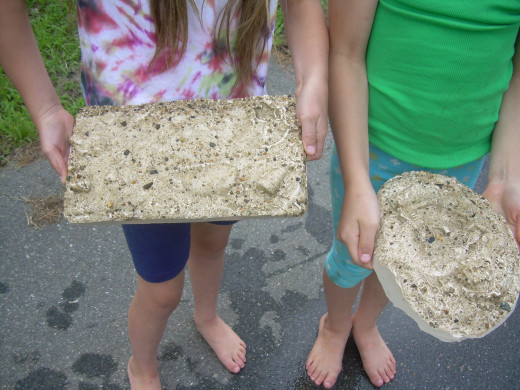 My daughter and her friend with their fossil slabs