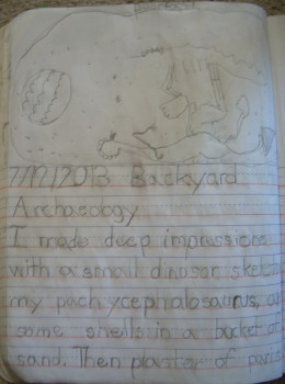 Page 1 of my daughter's science journal entry