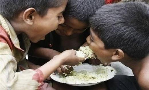Poor Children Sharing Meal
