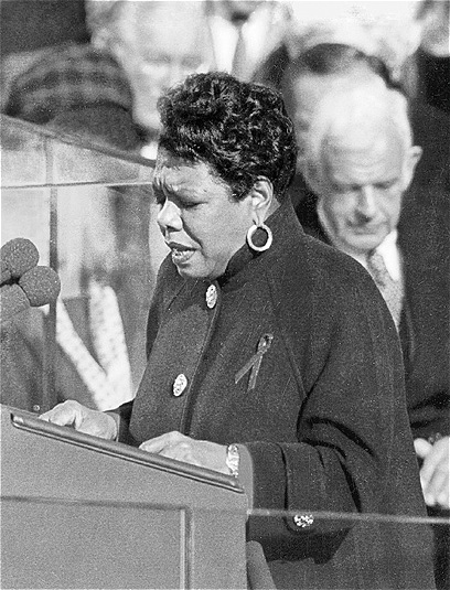 """Angelou reciting her poem, """"On the Pulse of the Morning,"""" at President Bill Clinton's 1993 inaugeration."""