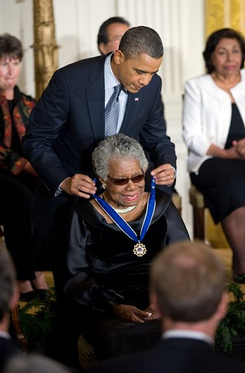 Angelou receiving the Congressional Medal of Honor from President Obama in 2011.