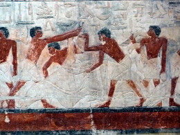 Relief of cattle cutting up in Kagemni mastaba, Saqqara, Egypt. Kagemni was a vizier of pharaos Djedkare Isesi and Unas (5th dynasty), and Teti (6th dynasty), 24th century BC.