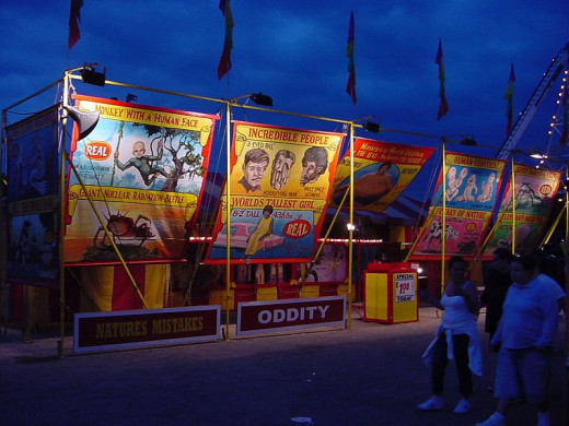 Entrance to a sideshow at the Erie County Fair in Hamburg, New York 2007