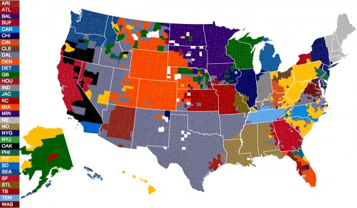 The map shows what common sense will tell you; most NFL fans live near their team. Not so with NASCAR