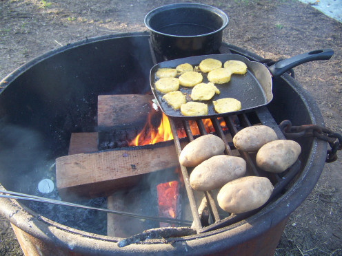 A fire at camp can be a great cooking source, adding to the camp experience.