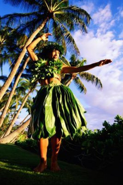 This is how a hula dance costume looks like for a women.