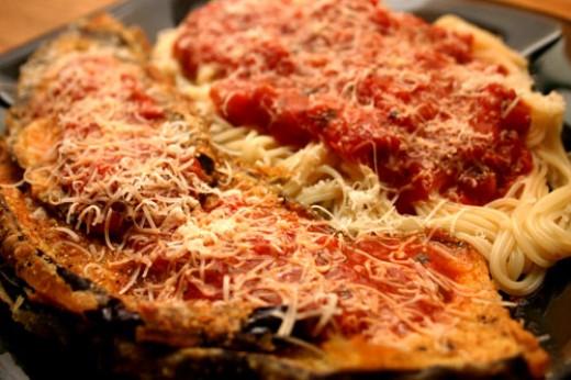 eggplant parmesan with spaghetti and marinara sauce