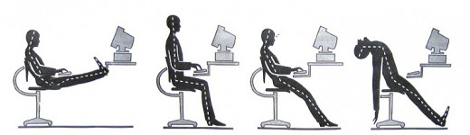 Proper posture must be observed while working on a desk. Sit comfortably. Move your chair closer to the desk and maintain contact between your back and the seat back for support.