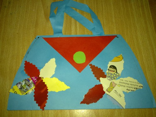 the original Paper Handbag that my son had made in school