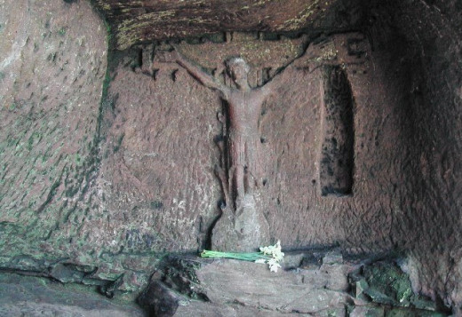 The Hermits Cave, Derbyshire, located in Hermits Wood. Many strange encounters have happened around this area.