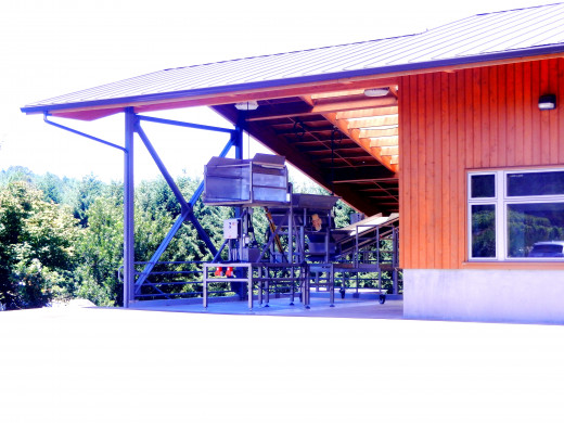 The grape-receiving hopper and other winery equipment work sustainably.