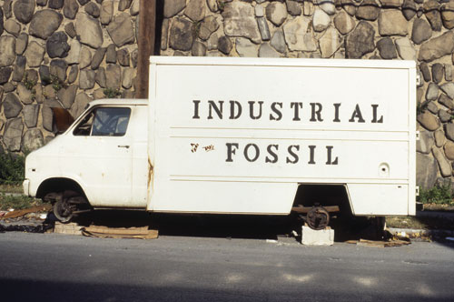 John Feckner used stencils to apply graffiti lettering to this abandoned truck in 1978.