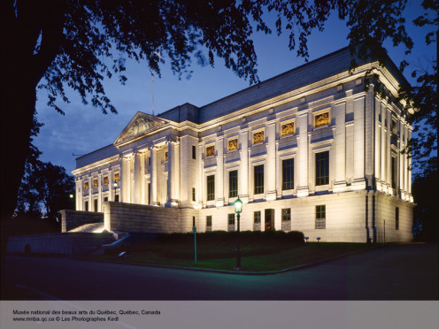 "One of the three buildings of the ""Musée national des beaux-arts du Québec"" at nightfall"