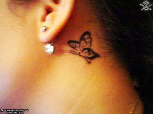 Butterfly Tattoos Behind The Ear