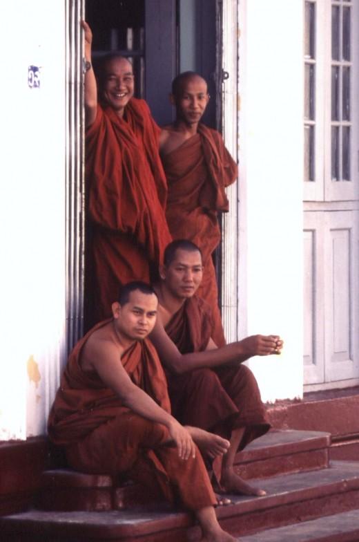 Monks in Rangoon.
