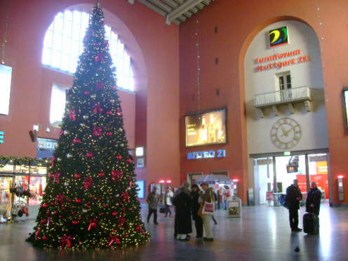 Inside of Hauptbahnhof at Christmas time.