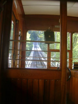 Going uphill in the Seilbahn.