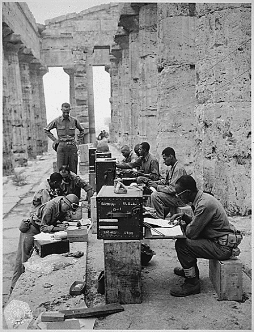 Black WWII Soldiers set up make-shift office between Doric Columns in Greece-cs
