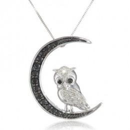 White gold, black and white diamond owl pendant necklace