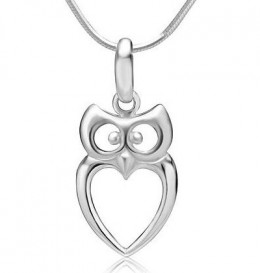 Sterling silver owl heart shaped pendant necklace