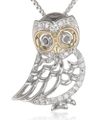 XPY sterling silver yellow gold and diamond owl pendant necklace