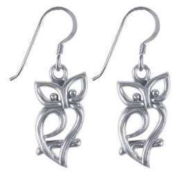 Gem Avenue LWES100 Sterling silver owl silhouette earrings