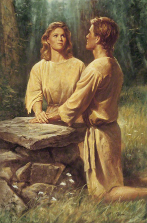Adam and Eve at the Alter offering prayer to God