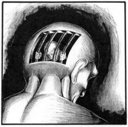 An image made to express someone trapped in their own thoughts, locked up by society and surroundings in general. The Biggest Loser is locking up the lively spirit of the contestants by creating the eating disorders.