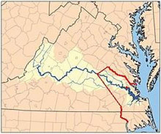 Red line shows boundary between the Virginia Colony and Tributary Indian tribes, as established by the Treaty of 1646. Red dot shows Jamestown, capital of Virginia Colony.