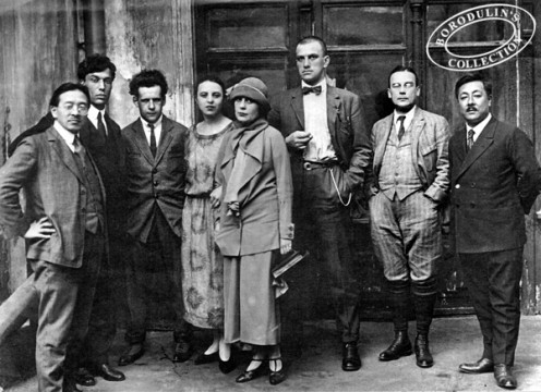 Pasternak, second from left, and friends during his university days.  He is standing next to Albert Einstein who is to his right.