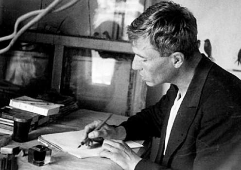 Pasternak writing at his desk.