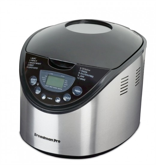 A Breadman TR875 2-Pound Stainless Steel Bread Maker