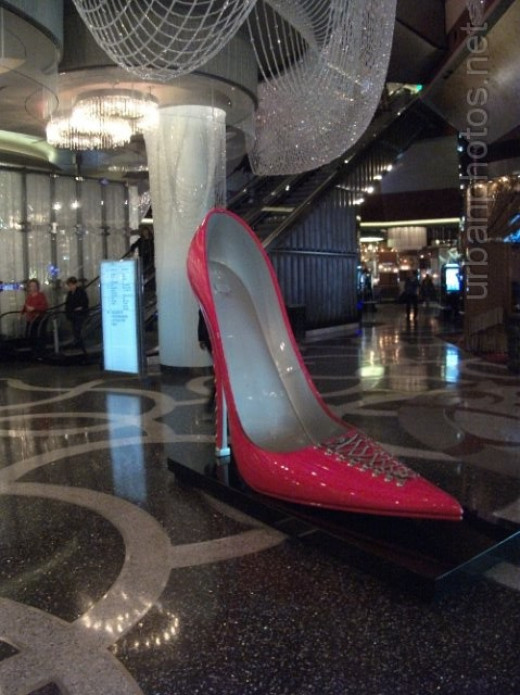 One of the giant shoes in Cosmopolitan Las Vegas.