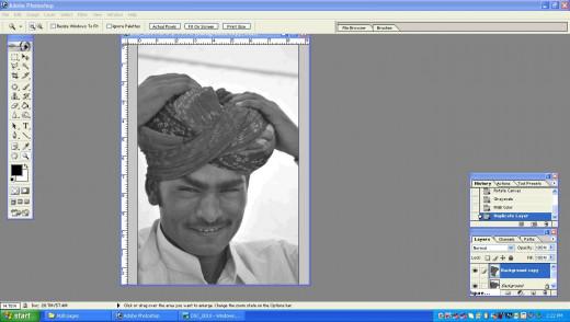 Open Black & white photograph